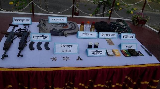 বান্দরবানে সেনা অভিযানে অস্ত্র-গুলি, সরঞ্জাম উদ্ধার